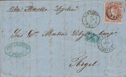 ESPAGNE - CACHET ENTREE - ESPAGNE AMB.CETTE A TAR.A - LE 7 JUIN 1871 - MANUSCRIT VIA MARSEILLE PAQUEBOT ARGELIA - LETTRE - Marques D'entrées