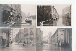 6 CPA GLACÉES:GRANDE CRUE DE LA SEINE PARIS (75) RUE DE L'UNIVERSITÉ,QUAI GRANDS AUGUSTINS,SOLDATS,RUE PAVAGE EN BOIS... - Altri