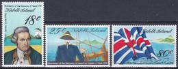 Norfolk-Insel 1978 Geschichte History Seefahrt Seafaring Entdeckungen Discovery Cook Flaggen Flags Hawaii, Mi. 205-7 ** - Isla Norfolk