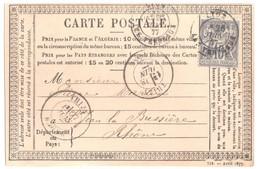 LYON Carte Entier Précurseur 739 Avril 1877 Storch 30 Destination Thizy Rhône 15c Sage Gris Yv 77 Ob 1877 Défaut Cadre - Cartes Précurseurs