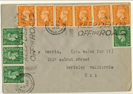 Gran Bretagna 1946 Bella Lettera Swansea-Usa Con Bolli Giorgio VI, 4 N. 209 Mezzo Penny Verdi E 6 N. 212 D. 2 Arancio - Covers & Documents