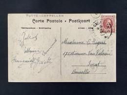 POSTKAART Uitgifte Albert I - 3c HOUYOUX  - Gestempeld RELAIS PUTTE-CAPPELLEN - 1922-1927 Houyoux