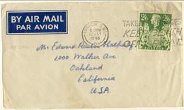 Gran Bretagna 1946 Bel Frontespizio Di Busta Posta Aerea Londra-Usa Con N. 233 S. 2,6 Verde. Singolare L'annullo - Covers & Documents