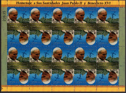 EL SALVADOR - POPE JOHN PAUL II & POPE BENEDICT XVI - NUMBERED FULL SHEET STAMPS - MINT NOT HINGED SOUVENIR M - Pausen