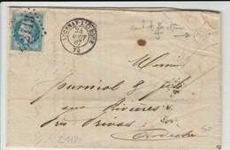 """RARE COMBI Cachet Facteur """"J"""" De Boite Rurale De Lucernay-l'Evêque CàD De Passe 1307 Au Dos - 1863-1870 Napoleon III With Laurels"""