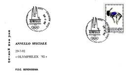 SAN MARINO - 1992 Mostra Filatelica Olimphilex Di Barcellona Su Busta Speciale Serenissima - 931 - Verano 1992: Barcelona