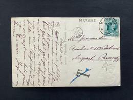POSTKAART Uitgifte Albert I - 10c HOUYOUX  - Gestempeld RELAIS MARCKE - 1922-1927 Houyoux