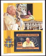 REPUBLIQUE DE COTE D'IVOIRE, IVORY COAST - SILVER IMPERFORATE BLOCK -  POPE JOHN PAUL II - MINT SOUVENIR, M - Pausen