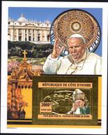 REPUBLIQUE DE COTE D'IVOIRE, IVORY COAST - GOLD IMPERFORATE BLOCK -  POPE JOHN PAUL II - MINT SOUVENIR, M - Pausen