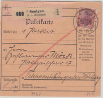 DR - 1 1/4 M. Germania Paketkarte/Selbstbucher Saulgau - Heuberg 1921 - Storia Postale