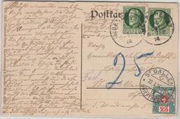 Bayern - 2x5 Pfg. Ludwig, Karte I.d. SCHWEIZ München - St. Gallen 1914 Nachporto - Bavaria