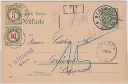 Bayern - 5 Pfg. Raute GA-Karte I.d. SCHWEIZ, Regensburg - Grüsch 1905 Nachporto - Bavaria