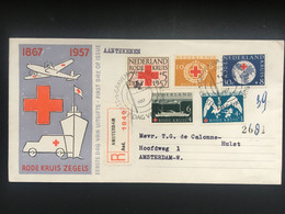 NETHERLANDS 1957 Red Cross Registered Amsterdam FDC - Lettres & Documents