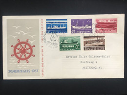 NETHERLANDS 1957 Ships FDC - Lettres & Documents