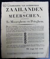 AANKONDIGING VERKOOPING VAN PATRIMONIELE ZAAILANDEN EN MEEERSCHEN  TE MOOREGHEM EN PETEGHEM  1825 - 45 X 35 CM - Documenti Storici