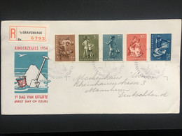 NETHERLANDS 1954 Child Welfare FDC Registered Gravenhage - Lettres & Documents