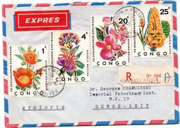 Kinshasa Kalina 1971 - Lettre Recommandée Registered Cover Brief - Fleurs Flowers Blumen - Covers