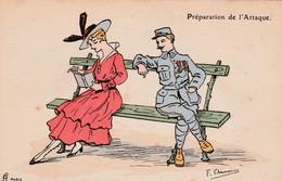 """CPA Aquarellée Peinte à La Main Femme Lady Glamour Soldat """"Préparation De L' Attaque"""" Illustrateur F. CHAMOÜIN  2 Scans - Umoristiche"""