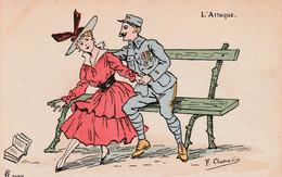 """CPA Aquarellée Peinte à La Main Femme Lady Glamour Soldat """" L' Attaque """" Illustrateur F. CHAMOÜIN  2 Scans - Umoristiche"""