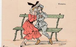"""CPA Aquarellée Peinte à La Main Femme Lady Glamour Soldat """" Victoire """" Illustrateur F. CHAMOÜIN  2 Scans - Umoristiche"""