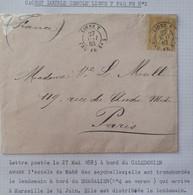 A434 - POSTE MARITIME - 1883 - ✉️ LIGNE T PAQ.FR.N°2 : NOUMEA à MARSEILLE ➤➤➤ Voir Info Ci-dessous - Schiffspost
