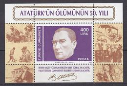 TÜRKEI, Block 27, Postfrisch **, 50. Todestag Von Kemal Atatürk 1988 - Hojas Bloque