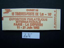 2102-C5 CONF. 4 CARNET DATE DU 19.3.8? FERME 10 TIMBRES SABINE DE GANDON 1,40 ROUGE PHILEXFRANCE 82 - Usados Corriente