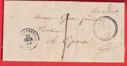 CAD TYPE 22 AUVE MARNE TAXE LOCALE 1 BOITE RURALE C A LA POSTE DE SOMME-VESLE POUR EPENSE CURSIE GIVRY EN ARGONNE ARRIVE - 1801-1848: Precursors XIX