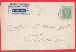 N°53 SEULE SUR LETTRE IMPRIME EN LOCAL CAD LA ROCHELLE CHARENTE INFERIEURE POUR LA ROCHELLE - 1849-1876: Classic Period