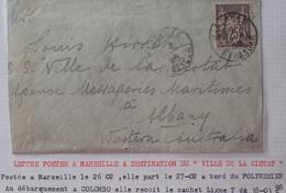 A440 - POSTE MARITIME - 1898 - ✉️ MARSEILLE à ALBANY (AUSTRALIE)  ➤➤➤ Voir Info Ci-dessous - Schiffspost