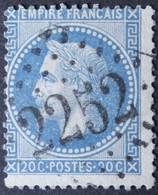 29B Planchage 102A2 4ème état, Obl GC 2252 Marvejols (46 Lozère ) Ind 4 - 1849-1876: Classic Period