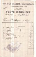 77 LAGNY-SUR-MARNE - Étude De Me COLLIBERT Huissier-Audiencier Rue Paul-Bert - VENTE MOBILIÈRE 15 Juillet 1906 Bordereau - Lagny Sur Marne