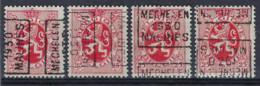Zegel Nr. 282 Voorafgestempeld Nr. 5919  A + B  + C + D   MECHELEN   1930  MALINES  ;  Staat Zie Scan !  - Roller Precancels 1930-..