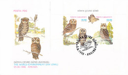 Turkey FDC 1998 Owls - The World Environment Day (T21-35) - Eulenvögel