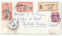 LANNION Côte Du Nord Lettre Recommandée 20F Natation Défaut 1 Timbre 10 F Gandon Violet Yv 811 960 Dest La Roche Derrien - Covers & Documents