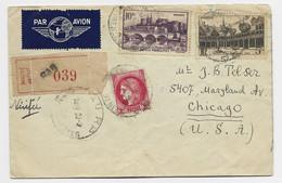 N°499+500+373 LETTRE REC AVION PAU 20.9.1941 POUR CHICAGO USA AU TARIF - 1921-1960: Moderne