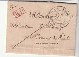 """Lettre Avec Cachet Type 11, Doubles Fleurons, Dax - St Vincent De Paul, Landes + Cachet """"PP"""" Rouge 1835 - 1801-1848: Precursors XIX"""