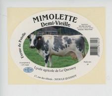 étiquette Fromage MIMOLETTE Demi-vieille - Lait De Vache Ferme De Potelle Lycée Agricole Le Quesnoy Rue Tilleuls 59 Nord - Cheese