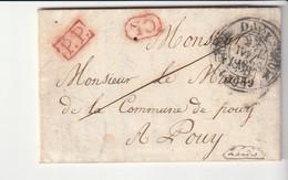 """Lettre Avec Cachet Type 11, Doubles Fleurons, Dax - Pouy, Landes + Cachets """"PP"""" Et """"CL"""" En Rouge 1838 - 1801-1848: Precursors XIX"""
