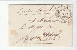 Lettre Avec Cachet Type 11, Doubles Fleurons, Dax - St Vincent De Paul, Landes, Service Rural - 1801-1848: Precursors XIX
