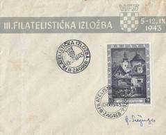 Kroatië Brief Tgv. Filatelistische Tentoonstelling Zagreb  5-12. IX 1943 (2377) - Croatia