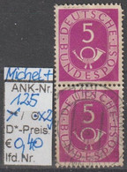 "1951/52 - BRD - FM/DM ""Ziffer M. Posthorn""  2 X 5 Pf. Lilapurpur - O Gestempelt - S. Scan (125o X2     Brd) - Oblitérés"