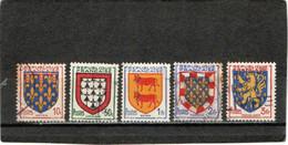 FRANCE    1951  Y.T.N° 899  à  903  Oblitéré - 1941-66 Stemmi E Stendardi