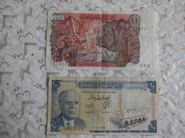 Lot 2 Billet Algerie 10 Dinars 1970 & Tunisie 1/2 Dinar 1965 - Kilowaar - Bankbiljetten