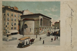 Livorno - Italy // Piazza Guerrazzi (color - With Horse Tram) 1902 With Stamp - Livorno