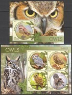 ST435 2016 SIERRA LEONE FAUNA BIRDS OWLS 1KB+1BL MNH - Owls