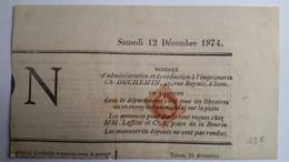 FRANCE -  N° 51 Avec Oblitération Typo Sur Portion De Journal Du 12/12/1874 - 2 Photos - 1849-1876: Periodo Clásico