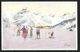 Künstler-AK Carlo Pellegrini: Wintersportler Im Gebirge - Otros Ilustradores