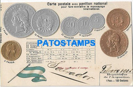 164738 ARGENTINA ART EMBOSSED MULTI COIN & FLAG YEAR 1904 POSTAL POSTCARD - Argentina