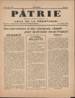 """Journal Patrie Bulletin Intérieur Militaire De """"ceux De La Résistance"""" Guerre 39 45 Du 10 NO 1944 N°2 Articles FFL CDLR - Autres"""